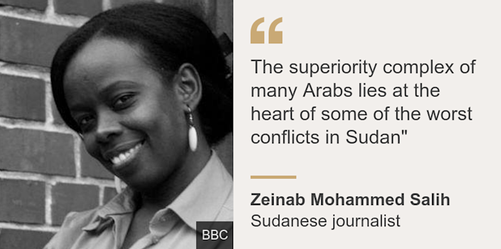 """""""The superiority complex of many Arabs lies at the heart of some of the worst conflicts in Sudan"""""""", Source: Zeinab Mohammed Salih, Source description: Sudanese journalist, Image: Zeinab Mohammed Salih"""