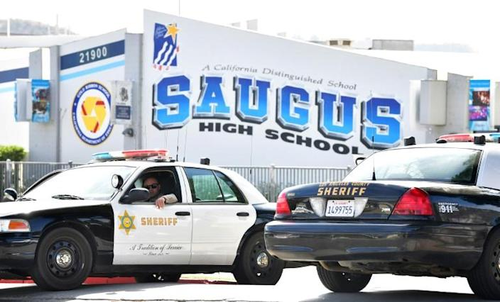 The shooting at Saugus High School in Santa Clarita left three people dead, including the shooter, and three wounded (AFP Photo/Frederic J. BROWN)