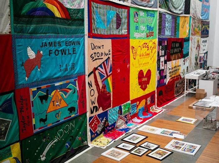 A portion of the AIDS Memorial Quilt is on display as part of the exhibit, A Matter of Time: Examining Forty Years of AIDS While Living through a Pandemic, at the Coral Gables Museum in Miami, Florida on Monday, April 5, 2021.