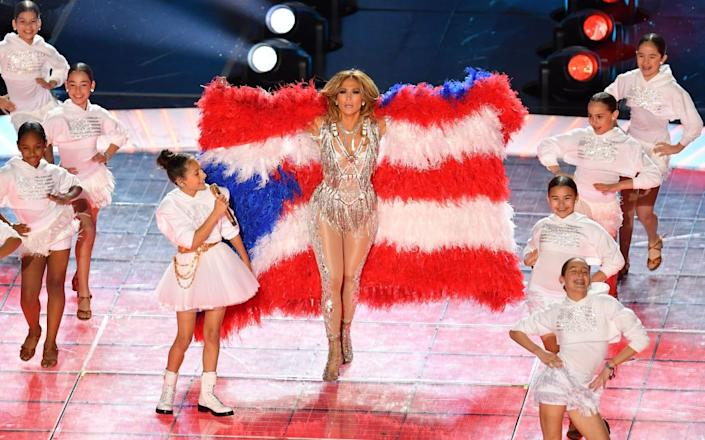 US singer Jennifer Lopez performs during the halftime show of Super Bowl LIV between the Kansas City Chiefs and the San Francisco 49ers at Hard Rock Stadium in Miami Gardens, Florida, on February 2, 2020.   AFP via Getty Images