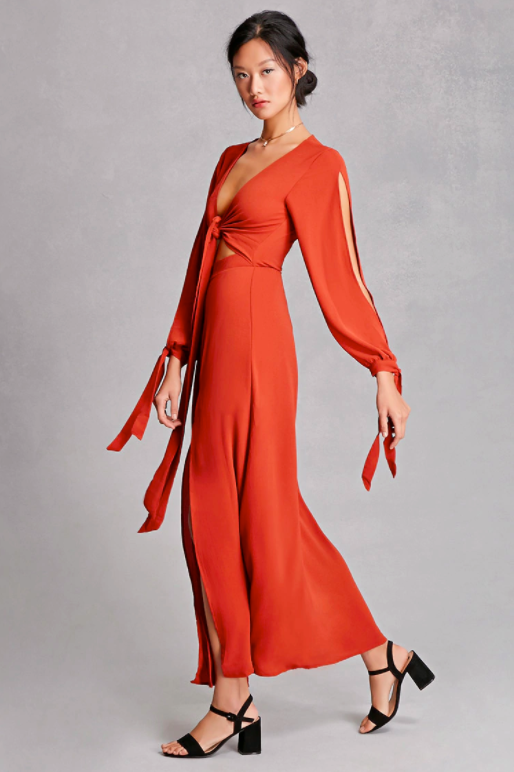 "Forever 21 Reverse M-Slit Maxi Wrap Dress, $39.99 (was $58.00); at <a rel=""nofollow"" href=""http://www.forever21.com/Product/Product.aspx?br=F21&category=branded-shop&productid=2000192739"" rel="""">Forever 21</a>"