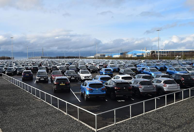 Nissan cars are pictured, parked in a lot at its' Sunderland plant in north east England on March 16, 2019. - Carmakers are facing fallout from Britain's decision to leave the European Union, a Chinese economic slowdown and from Beijing's ongoing trade row with the United States. (Photo by ANDY BUCHANAN / AFP) (Photo credit should read ANDY BUCHANAN/AFP/Getty Images)