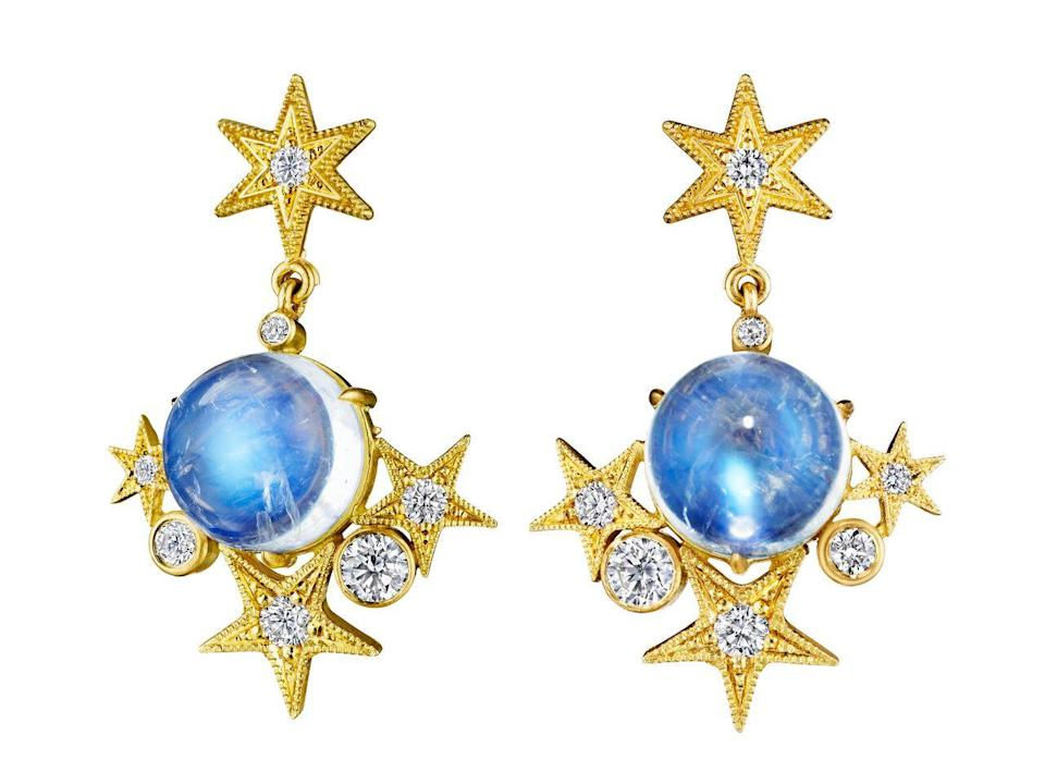 """<p><a class=""""link rapid-noclick-resp"""" href=""""https://anthonylent.com/collections/earrings/products/cabochon-star-drop-earrings"""" rel=""""nofollow noopener"""" target=""""_blank"""" data-ylk=""""slk:SHOP NOW"""">SHOP NOW</a></p><p>What could be more heavenly than a pair of statement earrings, featuring a pair of moonstone cabochons and a mini galaxy of golden stars? </p><p>Moonstone, diamond and gold earrings, £5535, Anthony Lent</p>"""