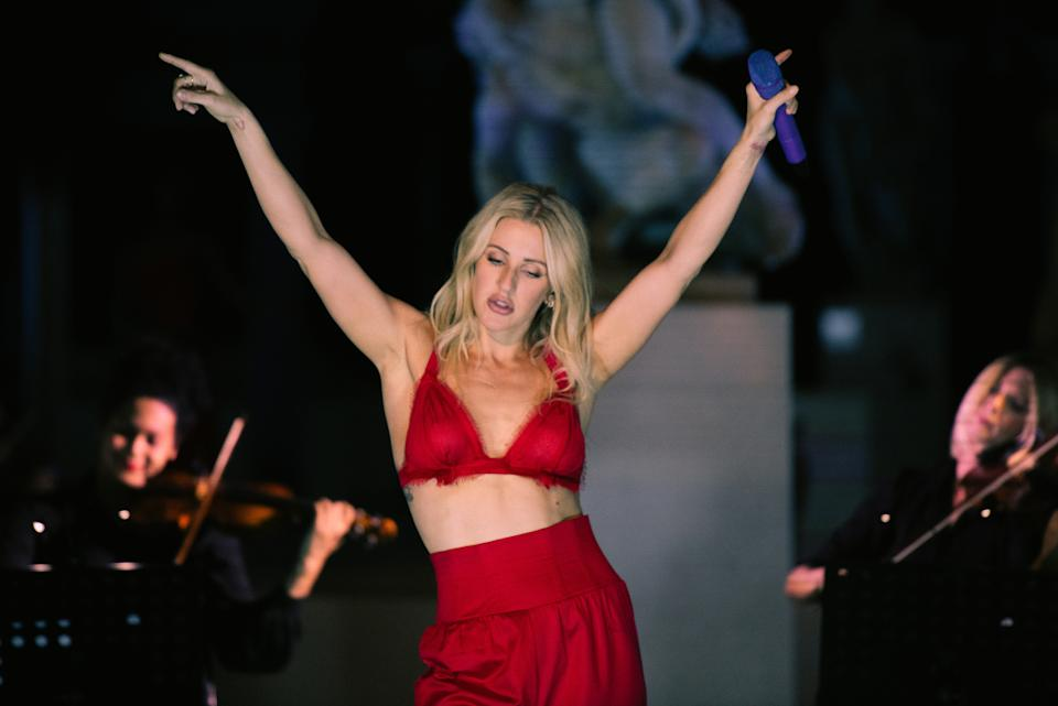 Ellie Goulding has admitted to becoming an introvert during lockdown and will have to build up the courage to return to the stage. (Jennifer McCord via Getty Images)
