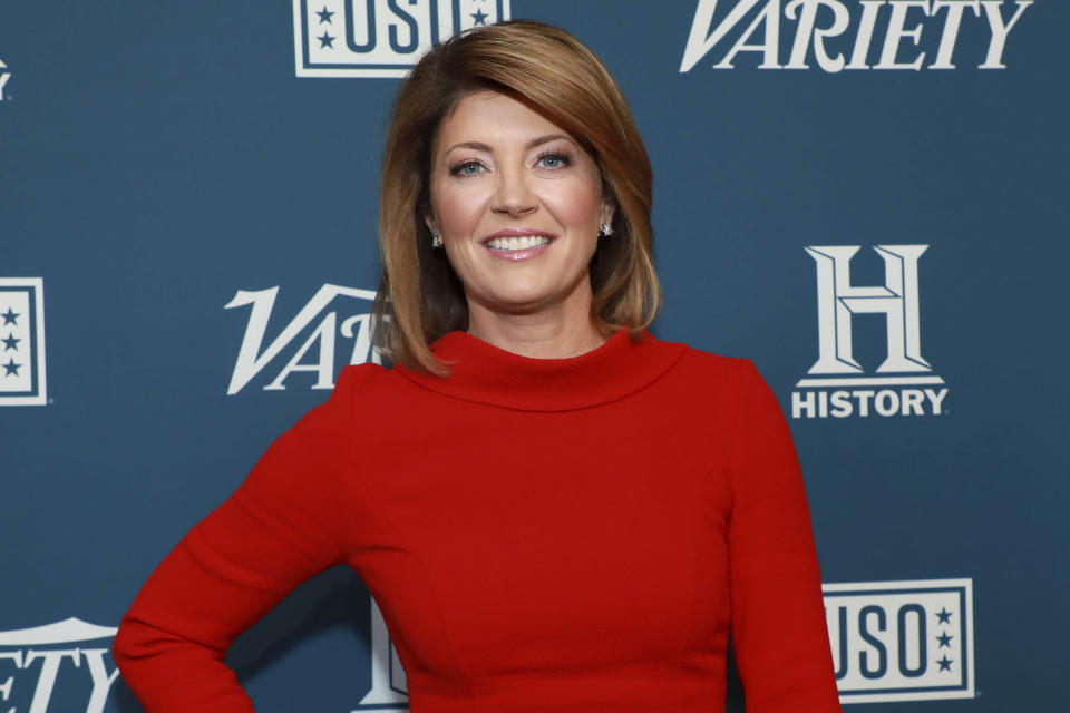 "FILE - Norah O'Donnell attends Variety's third annual ""Salute to Service"" celebration on Nov. 6, 2019, in New York. The CBS Evening News anchor says she's ""never covered a year in my entire journalistic career like this last year."" From the ongoing COVID global pandemic and George Floyd protests around the world to the contested 2020 presidential and last week's storming of the U.S. capitol by armed insurgents, O'Donnell concluded that ""journalism is more important than ever."" (Photo by Jason Mendez/Invision/AP, File)"