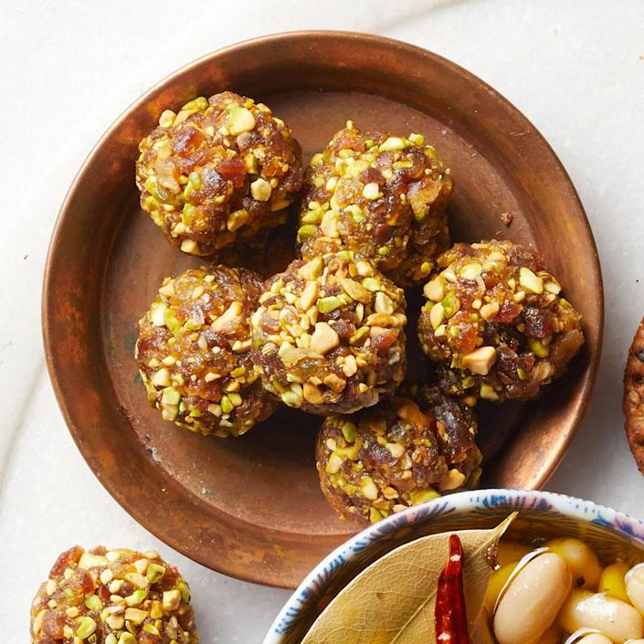 <p>A touch of sweetness from the dates and raisins paired with crunch and nuttiness from the pistachios make these bites perfect for an on-the-go snack or as an accompaniment on a cheese board.</p>