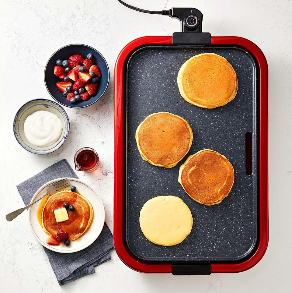 """<p>Pancakes aren't just for weekends! Make a double batch on Saturday and freeze for a quick morning meal all week.</p><p><a href=""""https://www.goodhousekeeping.com/food-recipes/a35563354/greek-yogurt-pancakes-recipe/"""" rel=""""nofollow noopener"""" target=""""_blank"""" data-ylk=""""slk:Get the recipe for Greek Yogurt Pancakes »"""" class=""""link rapid-noclick-resp""""><em>Get the recipe for Greek Yogurt Pancakes »</em></a></p>"""