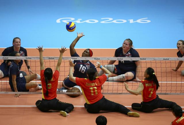 2016 Rio Paralympics - Sitting Volleyball - Final - Women's Gold Medal Match - Riocentro Pavilion 6 - Rio de Janeiro, Brazil, 17/09/2016. Nicky Nieves (USA) of the United States in action. REUTERS/Pilar Olivares FOR EDITORIAL USE ONLY. NOT FOR SALE FOR MARKETING OR ADVERTISING CAMPAIGNS.