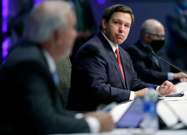 PHOTO: Florida Gov. Ron DeSantis participates in a news conference on COVID-19, Friday, June 19, 2020, at Florida International University in Miami. (Wilfredo Lee/AP, FILE)
