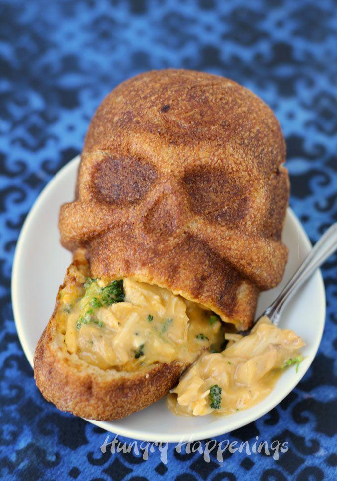 "<p>This dish may look complicated, but it actually only takes 20 minutes to make!</p><p><strong>Get the recipe at <a href=""http://hungryhappenings.com/2015/10/halloween-dinner-cheesy-broccoli-and-chicken-stuffed-skulls.html/"" rel=""nofollow noopener"" target=""_blank"" data-ylk=""slk:Hungry Happenings"" class=""link rapid-noclick-resp"">Hungry Happenings</a>.</strong></p><p><strong>Tools you'll need: </strong>skull pan, $39; <a href=""https://www.amazon.com/Nordic-Ware-Haunted-Skull-Cakelet/dp/B00Y6PRETK/"" rel=""nofollow noopener"" target=""_blank"" data-ylk=""slk:amazon.com"" class=""link rapid-noclick-resp"">amazon.com</a>.<strong><br></strong></p>"