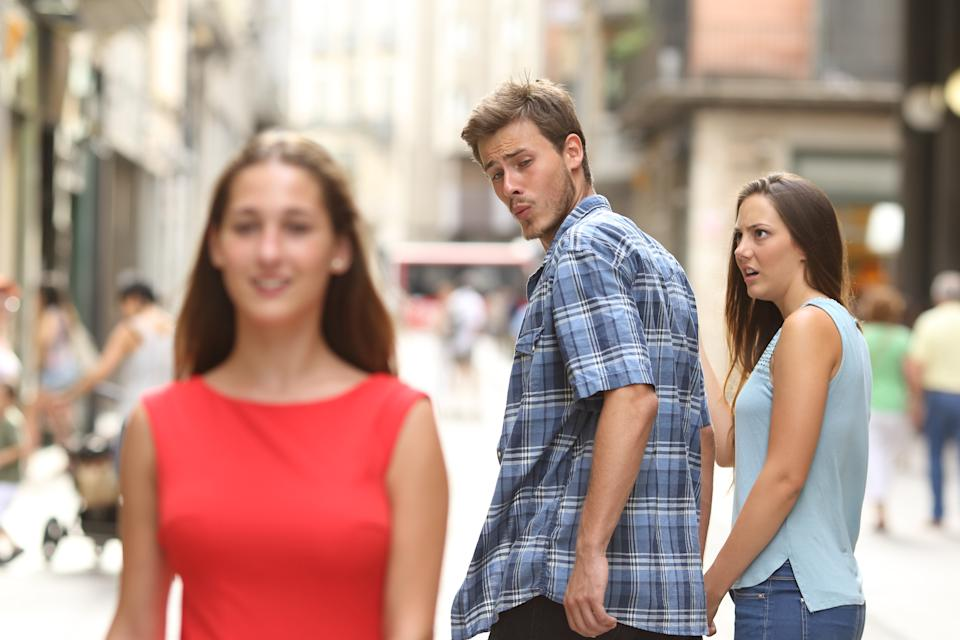 """""""Ladies, here's the thing you need to know about men: Don't give him a reason to be like this 'distracted boyfriend,"""" he said, referencing this photo, which is a popular meme. Photo: Getty"""