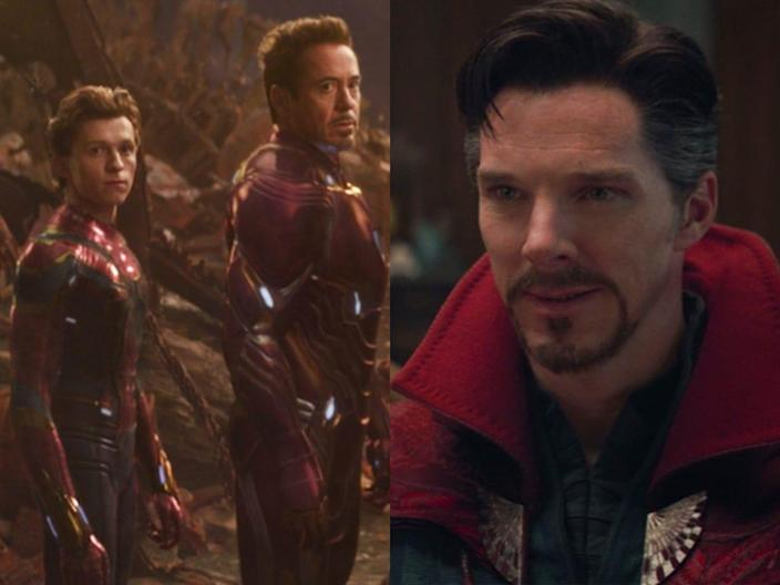 """On the left: Tom Holland and Robert Downey Jr. in """"Avengers: Infinity War."""" On the right: Benedict Cumberbatch in the same film."""