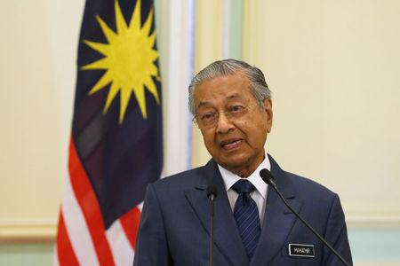Malaysia's Prime Minister Mahathir Mohamad speaks during a joint news conference