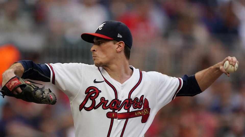 Atlanta Braves starting pitcher Max Fried delivers to a Tampa Bay Rays batter in the first inning of a baseball game Saturday, July 17, 2021, in Atlanta. (AP Photo/John Bazemore)