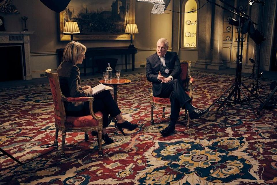 Broadcaster Emily Maitlis interviews Andrew during his Newsnight interview (Mark Harrison/BBC) (PA Media)