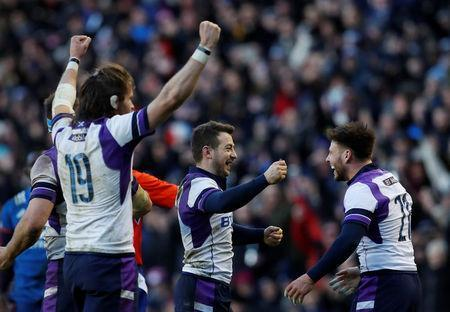 Rugby Union - Six Nations Championship - Scotland vs France - BT Murrayfield, Edinburgh, Britain - February 11, 2018 (L-R) Scotland's Ben Toolis, Greig Laidlaw and Ali Price celebrate after the match Action Images via Reuters/Lee Smith