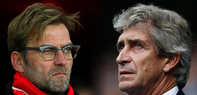 (FILE PHOTO - Image Numbers 502931146 (L) and 493045240 - EDITORS NOTE: A Gradient has been added) In this composite image a comparison has been made between Jurgen Klopp, manager of Liverpool and Manuel Pellegrini, manager of Manchester City. Liverpool and Manchester City meet in the Capital One Cup Final at Wembley Stadium on February 28, 2016 in London,England. ***LEFT IMAGE*** SUNDERLAND, ENGLAND - DECEMBER 30: Jurgen Klopp, manager of Liverpool looks on before the Barclays Premier League match between Sunderland and Liverpool at Stadium of Light on December 30, 2015 in Sunderland, England. (Photo by Ian MacNicol/Getty Images) ***RIGHT IMAGE*** MANCHESTER, ENGLAND - OCTOBER 17: Manuel Pellegrini, manager of Manchester City looks on prior to the Barclays Premier League match between Manchester City and A.F.C. Bournemouth at Etihad Stadium on October 17, 2015 in Manchester, England. (Photo by Dean Mouhtaropoulos/Getty Images)