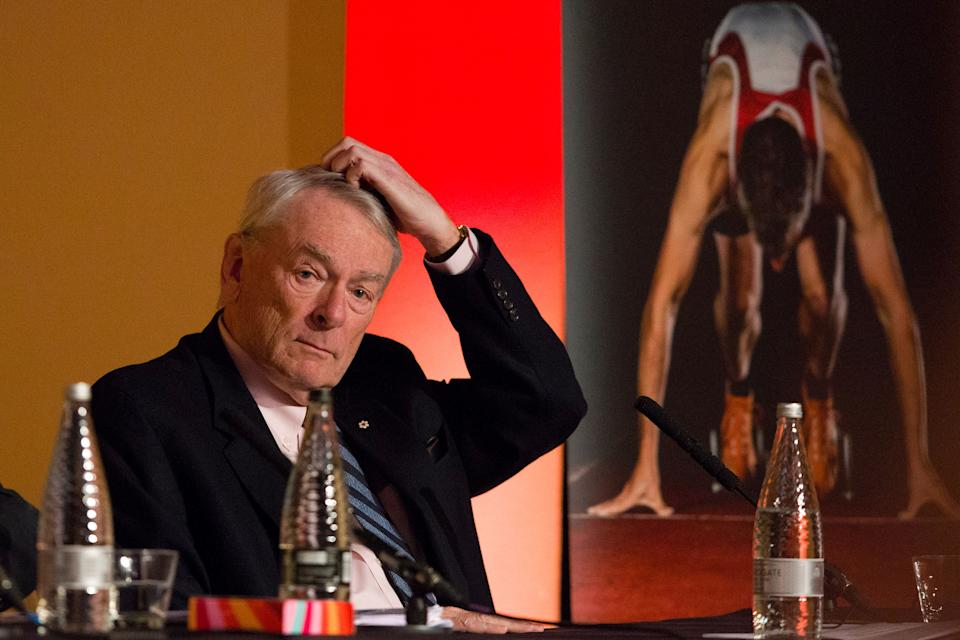 """Former President of the World Anti-Doping Agency (WADA), Dick Pound attends a Tackling Doping in Sport 2016 conference in London on March 9, 2016. Russia is """"changing deckchairs on the Titanic"""" rather than working to overturn an international ban on its athletes, ex-World Anti-Doping Agency (WADA) president Dick Pound told AFP on Wednesday. Russian athletes were banned from competing internationally last year after an independent commission chaired by Pound found evidence of state-sponsored doping in the country.   / AFP / JUSTIN TALLIS        (Photo credit should read JUSTIN TALLIS/AFP via Getty Images)"""
