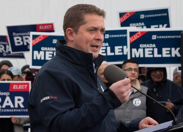 Conservative Leader Andrew Scheer speaks during a campaign stop in Brampton, Ont., on Oct. 17, 2019.