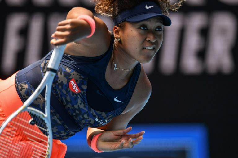 Naomi Osaka serves on her way against Hsieh Su-wei. The world number three hit 24 winners in easing to victory in 66 minutes