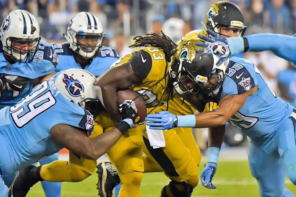 """This Jaguars-Titans Color Rush """"Thursday Night Football"""" game from 2016 might be one of the worst uniform matchups in league history."""