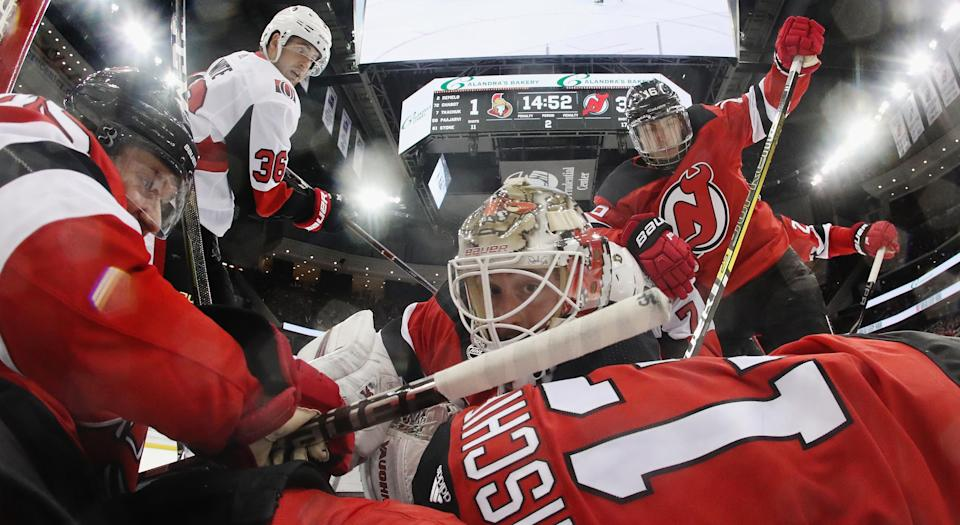 Yup, this picture of the New Jersey Devils pretty much says it all. (Photo by Bruce Bennett/Getty Images)
