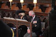 <p>Prince Charles and Camilla, Duchess of Cornwall sit together during the ceremony.</p>