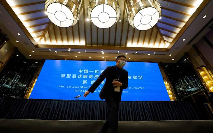 A Chinese journalist walks past the stage set for WHO-China Joint Study Press Conference - Ng Han Guan/AP