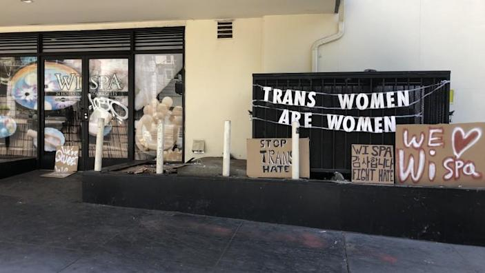 Sign outside the Wi Spa in Koreatown, Saturday, July 3, 2021.