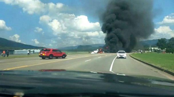 PHOTO: Emergency vehicles arrive at Elizabethton Municipal Airport, Tenn., Aug. 15, 2019, after a plane carrying retired NASCAR driver Dale Earnhardt Jr., his wife and daughter, rolled off the end of a runway at the airport and caught fire. (Scott Reis via Reuters)