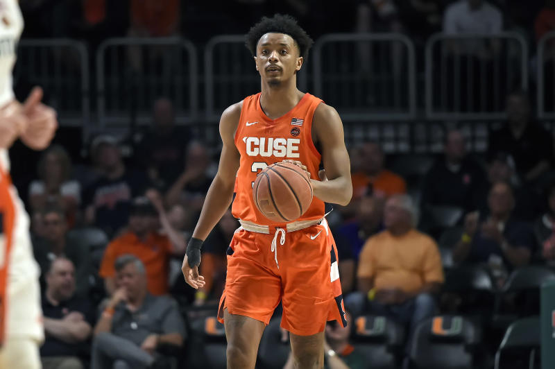 CORAL GABLES, FL - MARCH 07: Syracuse forward Elijah Hughes (33) handles the ball in the first half as the University of Miami Hurricanes faced the Syracuse University Orangemen on March 7, 2020, at the Watsco Center in Coral Gables, Florida. (Photo by Samuel Lewis/Icon Sportswire via Getty Images)