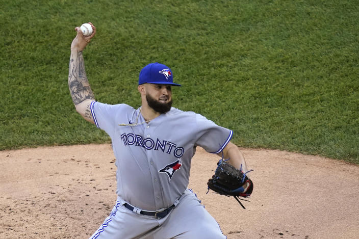 Toronto Blue Jays starting pitcher Alek Manoah delivers during the first inning of the team's baseball game against the Chicago White Sox on Wednesday, June 9, 2021, in Chicago. (AP Photo/Charles Rex Arbogast)