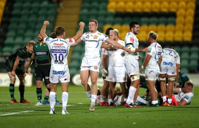 Exeter Chiefs celebrate a 22-19 victory away to Northampton Saints at the beginning of September