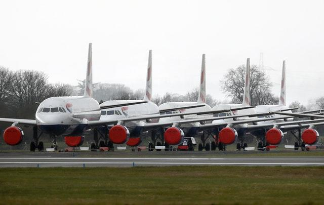 British Airways planes parked on the tarmac at Glasgow Airport (Andrew Milligan/PA)
