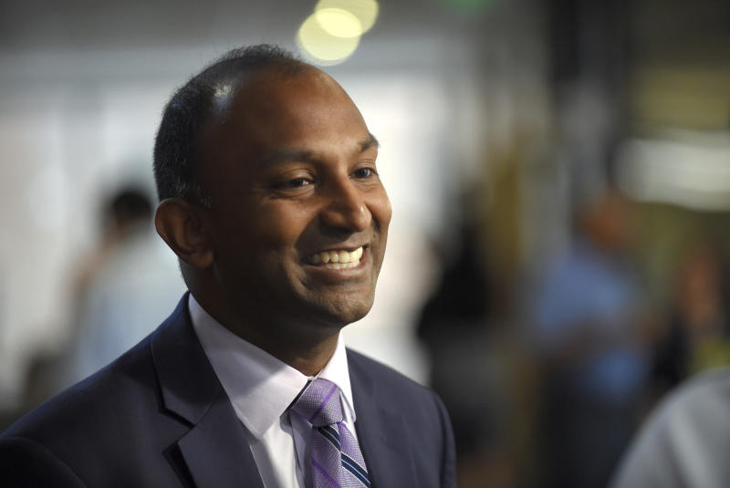 In this June 7, 2018, photo, Thiru Vignarajah is shown after a candidate's forum for the office of Baltimore State's Attorney, in Baltimore. Vignarajah is running for mayor of Baltimore. Baltimore's primary is Tuesday, June 2, 2020. (Lloyd Fox/The Baltimore Sun via AP)