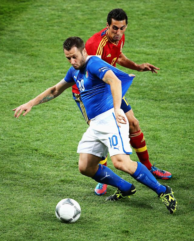 KIEV, UKRAINE - JULY 01: Antonio Cassano of Italy battles for the ball with Alvaro Arbeloa of Spain during the UEFA EURO 2012 final match between Spain and Italy at the Olympic Stadium on July 1, 2012 in Kiev, Ukraine. (Photo by Martin Rose/Getty Images)