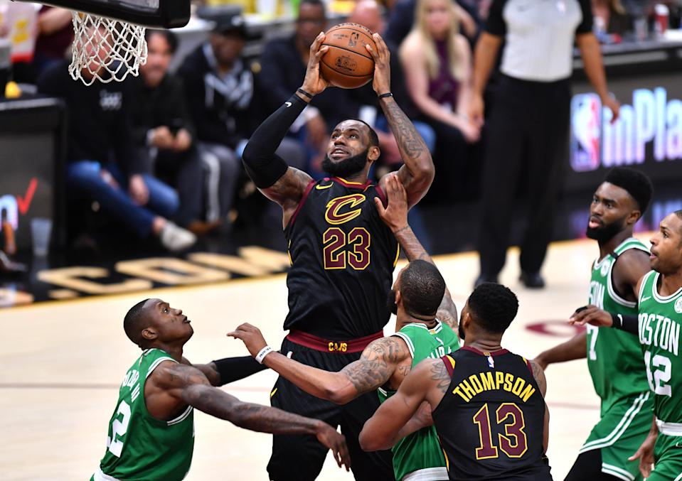 LeBron James once again towered over the Celtics on Monday night. (Getty)