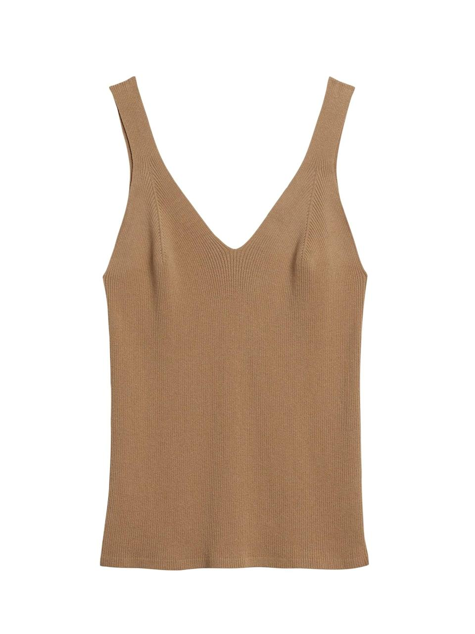 <p>This <span>Ribbed Sweater Tank</span> ($62, originally $70) is flattering and chic.</p>