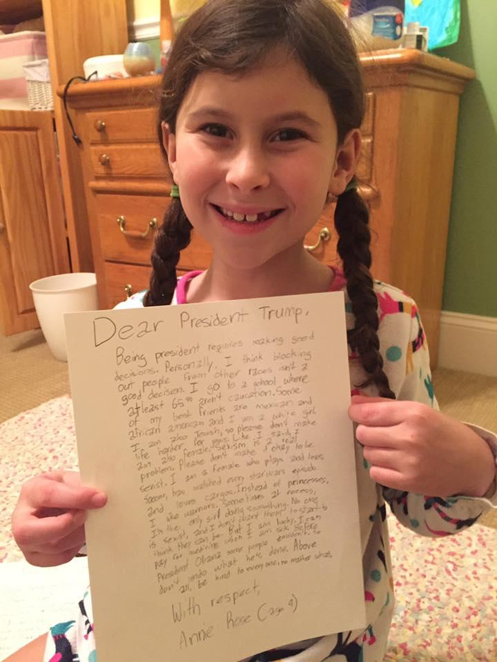 annie wrote a letter to donald trump asking him to be kind photo