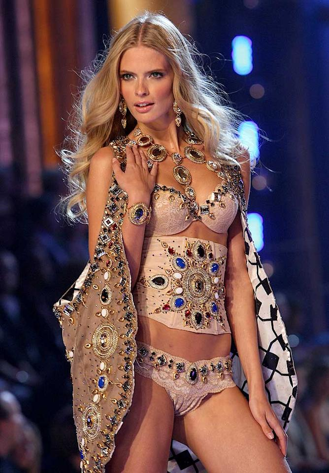 "A Victoria's Secret model shows off an elaborately embroidered ensemble. John Shearer/<a href=""http://www.wireimage.com"" target=""new"">WireImage.com</a> - November 15, 2007"
