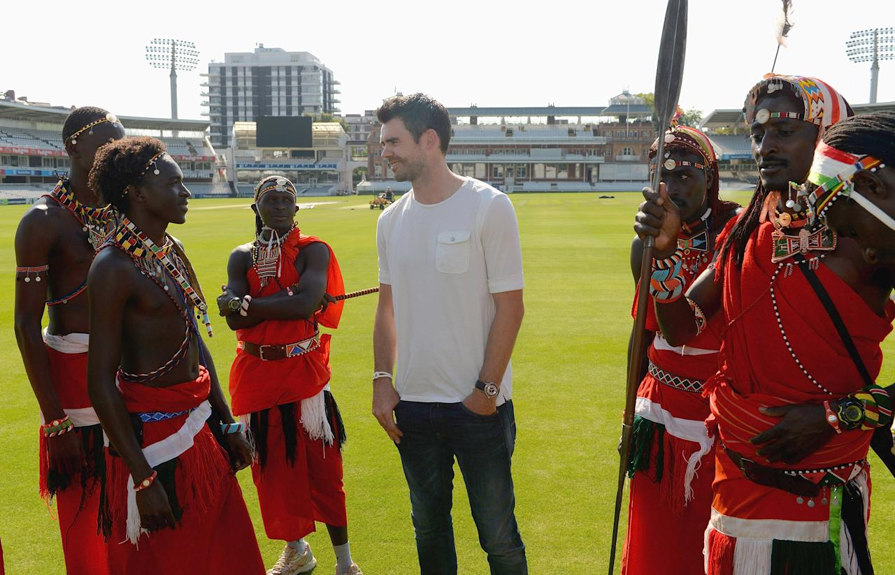 LONDON, ENGLAND - SEPTEMBER 04:  James Anderson of England meets the Maasai Warriors Cricket Team during the Last Man Standing Finals at Lords on September 4, 2013 in London, England.  (Photo by Christopher Lee/Getty Images)