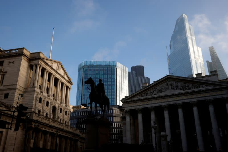 FILE PHOTO: AA view of The Bank of England and the City of London financial district in London, Britain