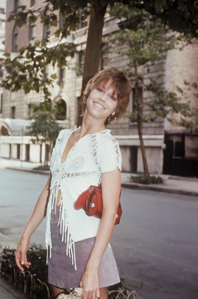 The actress wears a laced-up top and skirt in this 1970 photo taken in New York City.