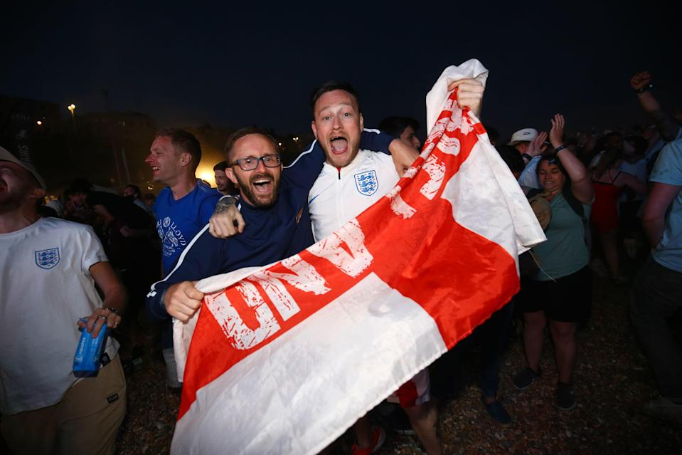<p>Fans at Luna Beach Cinema in Brighton went wild after England won the penalty shoot out against Colombia (Picture: PA) </p>