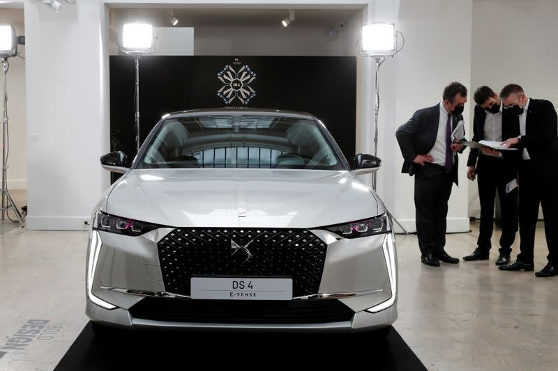 FILE PHOTO: A DS 4 automobile, produced by Stellantis, stands on display during its launch event in Paris
