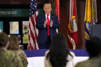 President Donald Trump claps after delivering a speech about the counternarcotics operations at U.S. Southern Command, Friday, July 10, 2020, in Doral, Fla. (AP Photo/Evan Vucci)