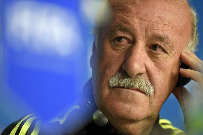 Spain's coach Vicente Del Bosque gives a press conference on June 22, 2014 in the Baixada Arena Stadium in Curitiba on the eve of their 2014 FIFA World Cup Group B football match against Australia