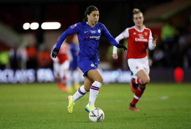 Chelsea's Sam Kerr won her first trophy with the club (Action Images via Reuters/Andrew Boyers)