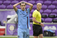 New York City FC forward Jesus Medina (19) reacts after missing a shot on goal during the second half of an MLS soccer playoff match against Orlando City, Saturday, Nov. 21, 2020, in Orlando, Fla. (AP Photo/Phelan M. Ebenhack)