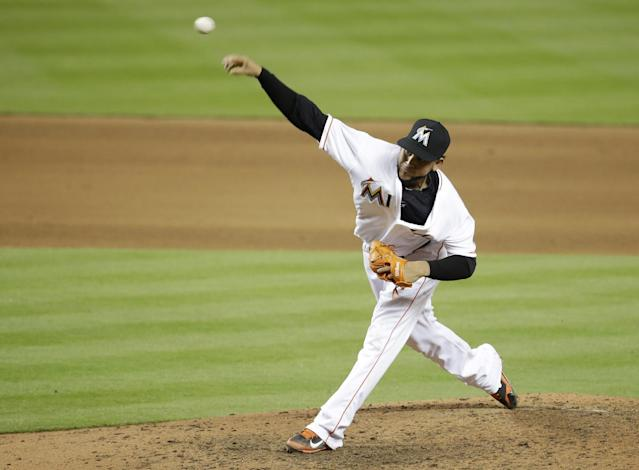 Miami Marlins starting pitcher Henderson Alvarez throws during the eighth inning of an interleague baseball game against the Tampa Bay Rays, Tuesday, June 3, 2014, in Miami. Alvarez pitched a complete game as the Marlins defeated the Rays 1-0. (AP Photo/Lynne Sladky)